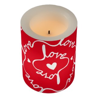 The Word Love on Red Background Flameless Candle