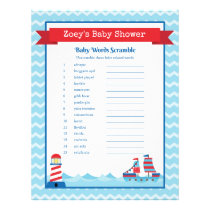 The Word Scramble Nautical Theme Baby Shower Game Letterhead