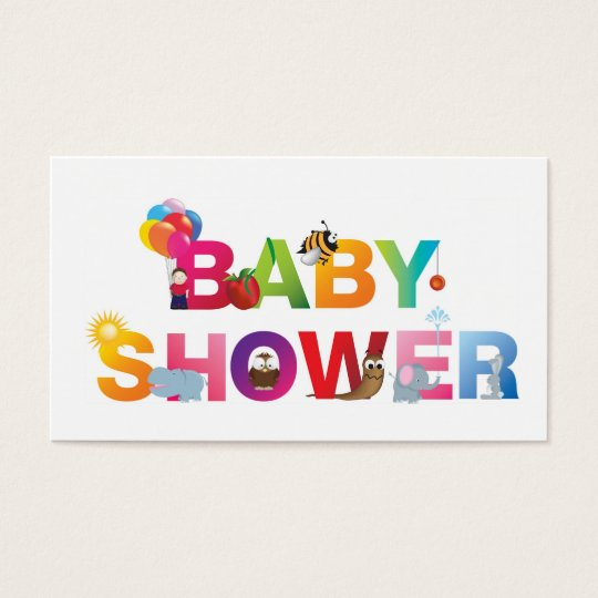 The words baby shower business card