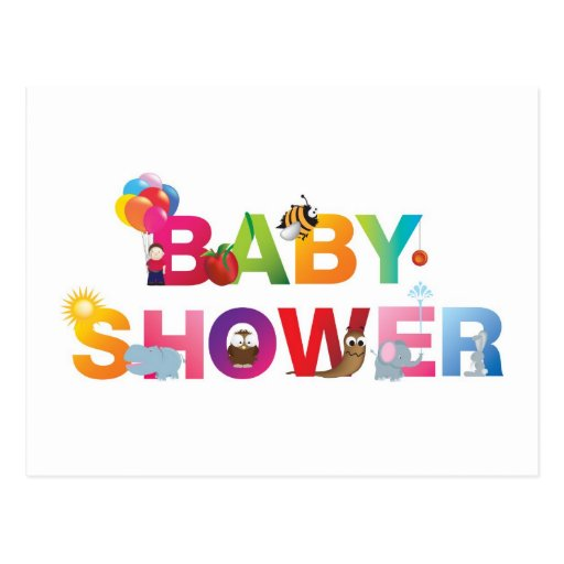 The words baby shower postcard