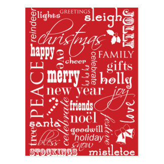 The Words of Christmas Postcard