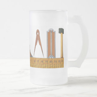 The Working Tools of the Master Mason Frosted Glass Beer Mug