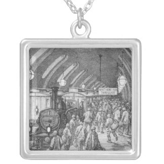 The workmen's train silver plated necklace