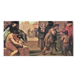 The Works Of Mercy By Montallier Pierre ( Customized Photo Card