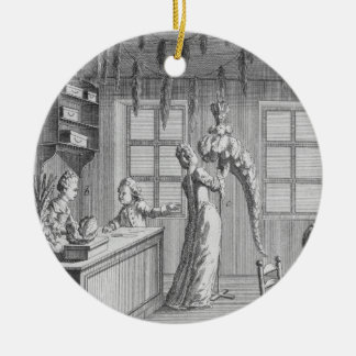 The workshop of a dressmaker, illustration from th christmas ornament
