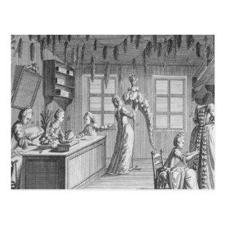 The workshop of a dressmaker, illustration from th postcard