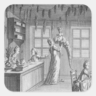 The workshop of a dressmaker, illustration from th square sticker