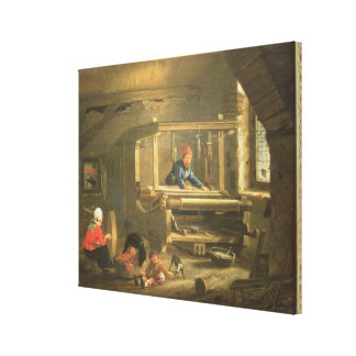 The Workshop of a Weaver, 1656 (oil on canvas) Canvas Print