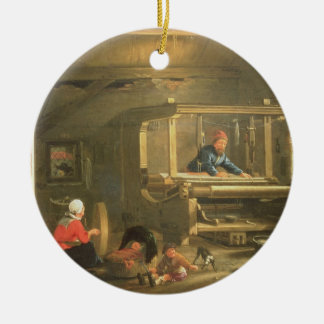 The Workshop of a Weaver, 1656 (oil on canvas) Ceramic Ornament