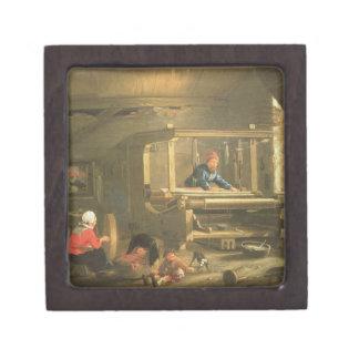 The Workshop of a Weaver, 1656 (oil on canvas) Premium Keepsake Box