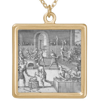 The workshop of Atahualpa's goldsmiths in Quito, f Gold Plated Necklace