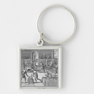 The workshop of Atahualpa's goldsmiths in Quito, f Keychain