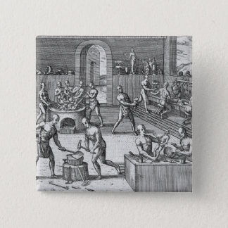 The workshop of Atahualpa's goldsmiths in Quito, f Pinback Button