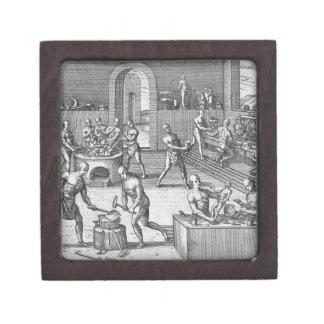 The workshop of Atahualpa's goldsmiths in Quito, f Premium Trinket Box