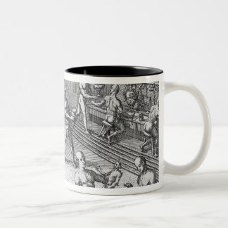 The workshop of Atahualpa's goldsmiths in Quito, f Two-Tone Coffee Mug