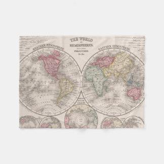 The world 1860 - Eastern & Western hemispheres Fleece Blanket