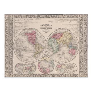 The world 1860 - Eastern & Western hemispheres Postcard