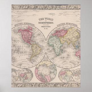 The world 1860 - Eastern & Western hemispheres Poster
