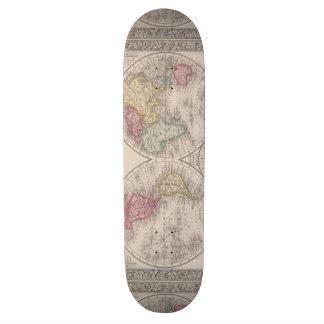 The world 1860 - Eastern & Western hemispheres Skateboard Deck