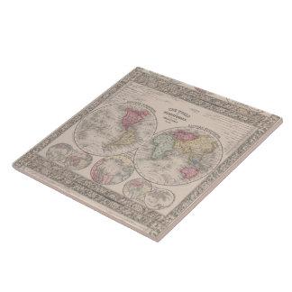 The world 1860 - Eastern & Western hemispheres Tile