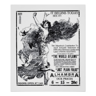 'The World Aflame' 1919 vintage movie ad poster