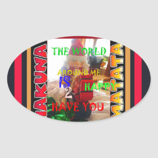 The world around Me is happy to Have You colors Me Oval Sticker