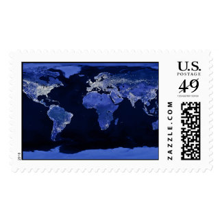 The World at Night - Map, Space Postage Stamp