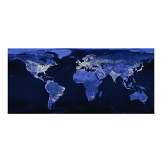 The World at Night - Map, Space Rack Card Design
