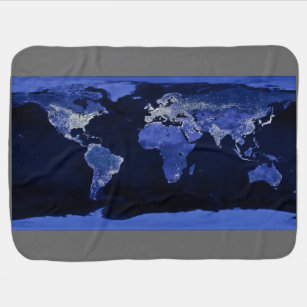 World map baby blankets zazzle the world at night map space swaddle blanket gumiabroncs Images