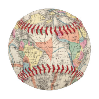The world Atlas map with currents and trade winds Baseball