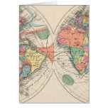 The world Atlas map with currents and trade winds Greeting Card