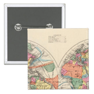 The world Atlas map with currents and trade winds Pinback Button