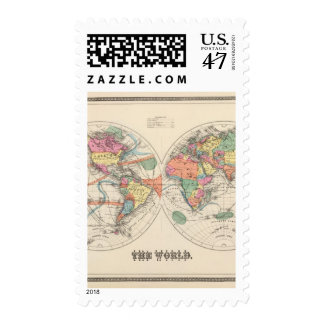 The world Atlas map with currents and trade winds Postage Stamp