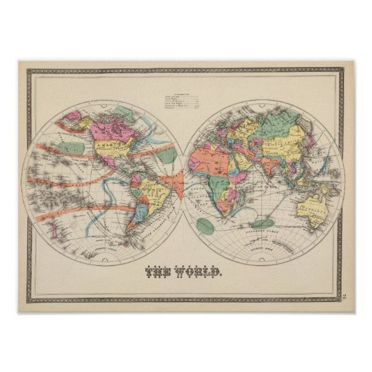 The world Atlas map with currents and trade winds Poster