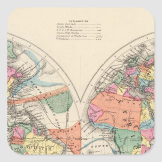 The world Atlas map with currents and trade winds Square Sticker