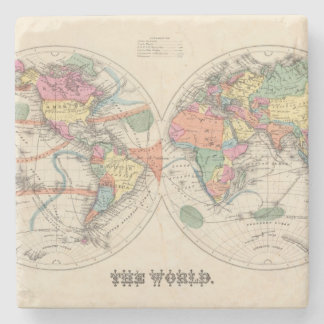 The world Atlas map with currents and trade winds Stone Coaster