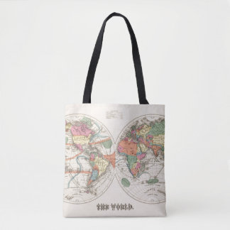 The world Atlas map with currents and trade winds Tote Bag