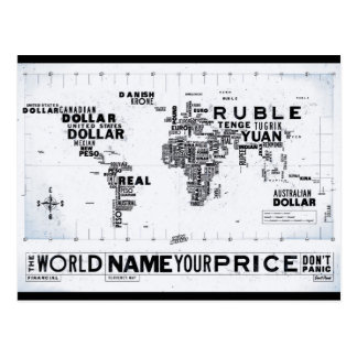 The World Currency Map Postcard