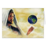 The world in his hand greeting card