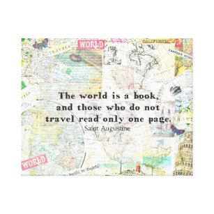Travel quotes canvas art prints zazzle the world is a book travel quote canvas print gumiabroncs Choice Image