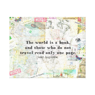 The world is a book TRAVEL QUOTE Canvas Print