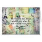 The world is a book travel quote card