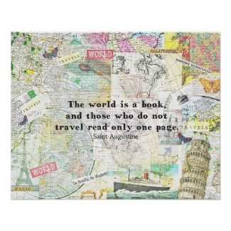 The world is a book TRAVEL QUOTE Poster