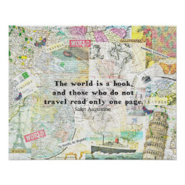 Travel quotes posters zazzle the world is a book travel quote poster gumiabroncs Images