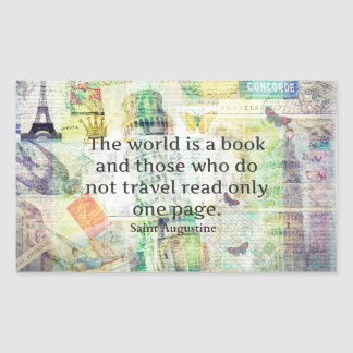 The world is a book travel quote rectangular sticker