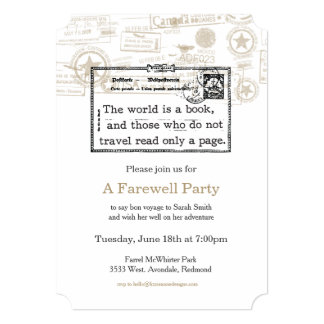 """""""The World is a Book"""" Vintage Travel Invitation"""