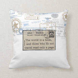 """The World is a Book"" Vintage Travel Throw Pillow"