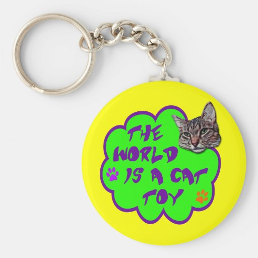 The World Is A Cat Toy Keychain