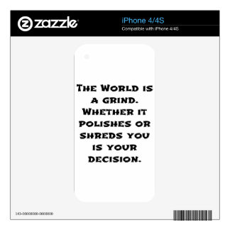 The World Is A Grind Decals For iPhone 4S
