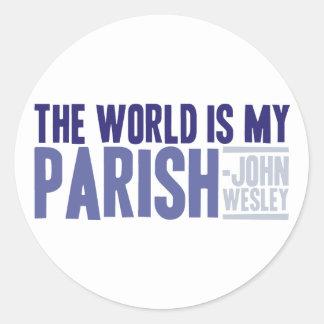 The World is my Parish Round Sticker